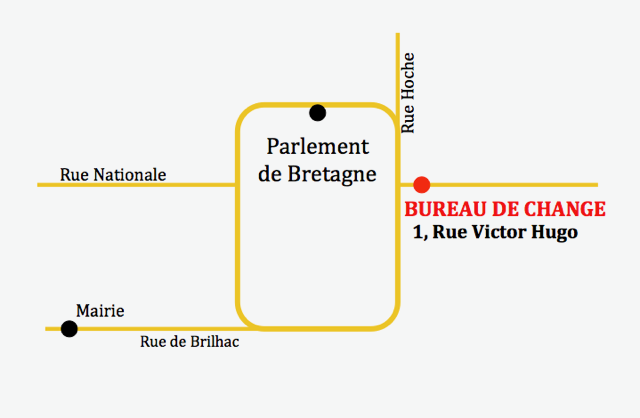 plan du bureau de change de Rennes