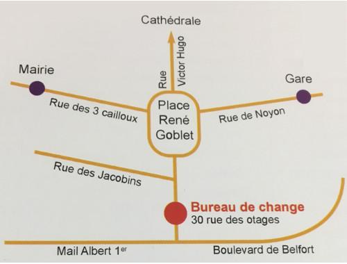 plan du bureau de change d'Amiens